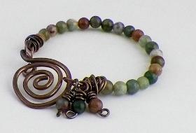 Fancy Jasper and Copper Spiral Bracelet